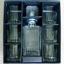 CRYSTAL Glass Boxed 7 Piece Whisky Spirit Decanter & 6 Glasses Gift Set BNIB