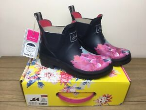 BNWT Joules Wellibobs Size 4 EU 37 Navy Floral Women's Boxed