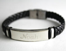 NOAH - Mens Bracelet With Name - Leather Braided Dad Birthday Gift For Him
