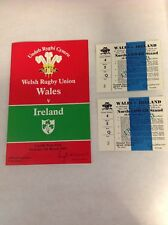 WALES v IRELAND 5th MARCH 1983 RUGBY PROGRAMME PLUS TWO TICKETS IN BLOCK 5