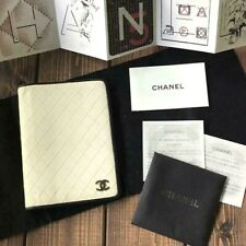 AUTHENTIC CHANEL BICOLORE CC AGENDA DAY PLANNER COVER IVORY WHITE LEATHER