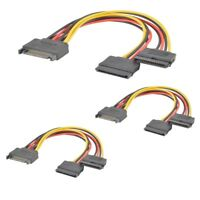 3x SATA Power 15-pin Y-Splitter Cable Adapter Male to Female for HDD Hard Drive
