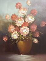 Large Framed Oil On Canvas-Flowers In Vase-Signed Robert Cox