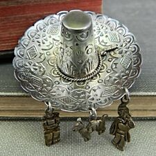 800 Silver Sombrero Hat Pin/ Brooch w/ Charms