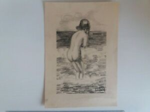Antique Latvia Drawing Naked Woman in The Baltic Sea 1943