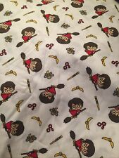 Cartoon Harry Potter On Broom  On White Cotton Fabric Free Post By The FQ