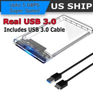"2.5"" SATA USB 3.0 Clear Hard Drive Disk HDD SSD Enclosure External Laptop Case"