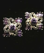 Silver Marcasite And Amethist Earrings Vintage Signed Han 925 Sterling