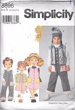 UNCUT sewing pattern Simplicity 8896 girls 3-8 jumpsuit jumper vest jacket hat