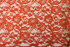 NEW Fabric Corded Lace Orange-Red Quality Sewing Dress Material 1 Metre x140cm