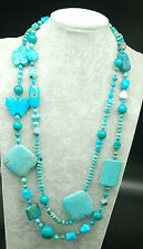 "howlite  turquoise flat baroque 54"" nature wholesale beads necklace"