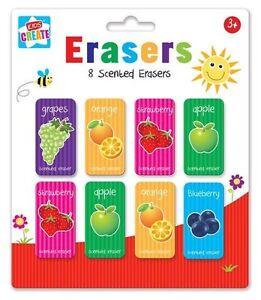 8 Pcs Erasers Children Fruit Scented Eraser Rubbers School Party Bag Filler Gift