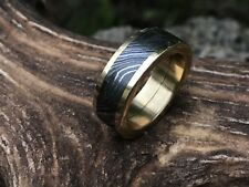 HUNTEX Unique Damascus Ring with Brass Inlay Ring Size 9 Mens Gift Jewellery