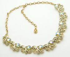 "Vintage Coro Necklace Rhinestones 17"" Choker Statement Very Nice! Gold Tone"