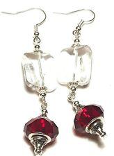 Long Drop Dangle Silver Clear & Red Earrings Glass Beads Pierced