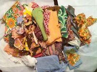 VINTAGE QUILT SCRAP FABRIC & FEEDSACK MIX PCS LOT 3 LBS OLD NOVELTY + CHILDRENS