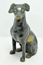 Original Old Antique Fine Hand Crafted Brass Sitting Dog Figurine
