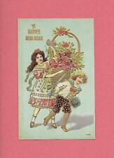 CHILDREN Carry Huge ROSE BASKET On Beautiful Vintage NEW YEAR Postcard