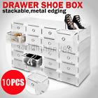 10PCS Standard size Plastic Shoe Box Storage Stackable Foldable Storage Drawer