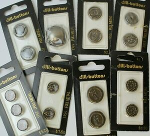 8 Packs NOS Fancy Round Full Metal Buttons DILL Germany 13 14 15 18 20 28mm