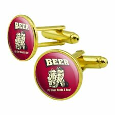 Beer My Liver Needs a Hug Funny Humor Retro Round Cufflink Set Gold Color