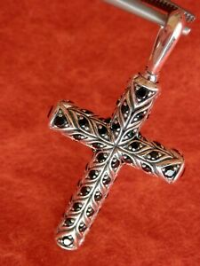 David Yurman Sterling Silver Chevron Cross W/Black Diamonds NEW DESIGN! $1,550