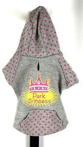 Top Paw Park Princess Gray and Pink Polka Dot Puppy Dog Hoodie Size XS