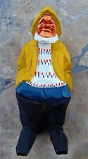 "NILS GUNNARSON'S SIGNED TRYGG CARVING ~  WOODEN 5"" FISHERMAN ~MADE IN SWEDEN"