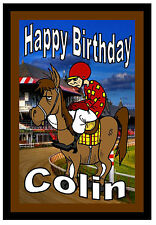 HORSE RACING - PERSONALISED FUN BIRTHDAY CARD - ANY NAME - BRAND NEW -