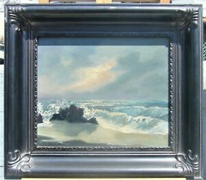 R.YFANTIDOU GREEK ARTIST VINTAGE PAINTING ROUGH SEASHORE OIL ON HARDBOARD SIGNED