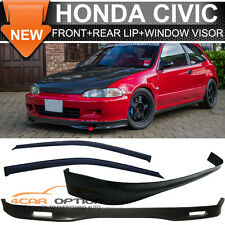 Fits 92-95 Honda Civic 3Dr EG Eh SPOON Front Rear Bumper Lip + Sun Window Visors