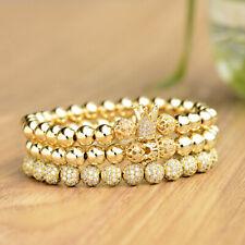 3Pcs Micro Pave Cubic Zirconia Crown Beads Pulseira Men Bangle Couple Bracelets