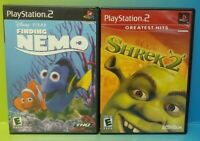 Shrek 2 + Finding Nemo Disney - PS2 Playstation 2 Game Lot Tested + Working