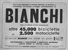 PUBBLICITA'1919 EDOARDO BIANCHI BICICLETTE MOTOCICLETTE OFFICINE INDUSTRIA