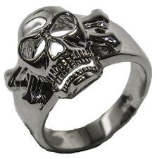 Men's Rhodium Plated Dress Ring Enameled Skull 032