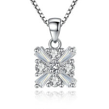 925 Sterling Silver Crystal Square Pendant Necklace Women Jewellery J133