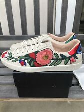 Gucci Ace Floral Embroidered Sneakers 440659 A38G0 cream tan G 10 fits US 11