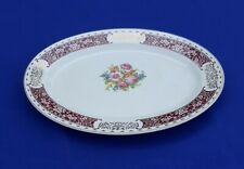 "Vintage Homer Laughlin L40N6 Large 15 ¾"" Oval Rose Cluster Serving Platter USA"