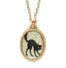 Maximal Art Halloween Necklace Black Cat John Wind Silhouette Gold Jewelry New