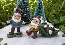 Miniature FAIRY GARDEN Winter Woodland CHRISTMAS  ~ 2 GNOME w Tree & Snowshoe