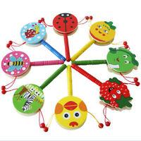 Baby Shaking Rattle Cartoon Wooden Hand Bell Drum Kids Baby Toy