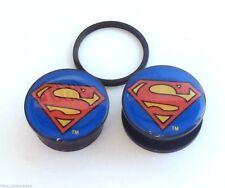 "PAIR-Superman DC Comics Acrylic Screw On Plugs 25mm/1"" Gauge Body Jewelry"