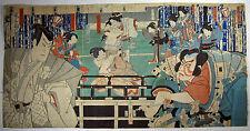 Japanese Woodblock print Kabuki Actors Toyohara Kunichinka triptych