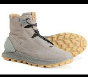 Ecco Mens Exostrike Mid Dyneema Leather Light Grey Lightweight Hiking Boots