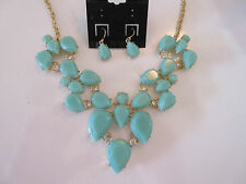Necklace Earrings Set Opaque Turquoise Rhinestone Tear Drop Cluster Gold NWT G39