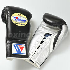 Winning Boxing gloves Lace up 8oz Black x Silver from JAPAN FedEx tracking