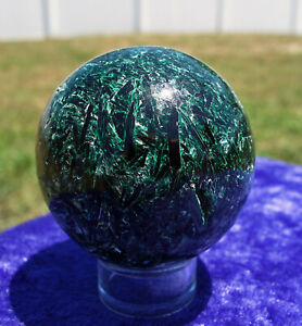 Rich Green EMERALD & Green KYANITE a Rare Crystal Sphere in Fuchsite For Sale