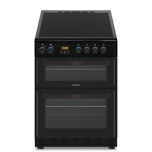 electriQ 60cm Double Cavity Electric Cooker with Ceramic Hob - Black