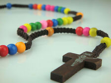 Dark Brown Rope Rainbow Wooden Beads Religious Necklace Rosary For Praying