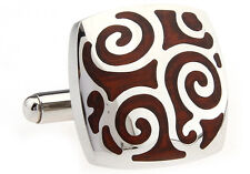 Wood and Stainless Steel Square Filigree Wedding Cufflinks by COWAN BROWN